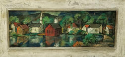Katherine S. Kirkman (American, 20th Century)    View of Harrisville, New Hampshire