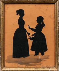 Hollow-cut Silhouette of a Mother and Daughter