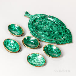 Thirteen-piece Malachite and Bronze Nut Set