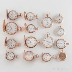 Group of 14kt Gold Open-face and Hunter-case Watches