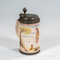 Magdeburg Polychrome Decorated Creamware Tankard
