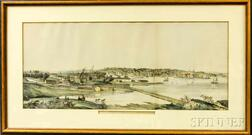 Framed Hand-colored Lithograph View of Providence R.I. from the South