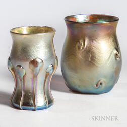 Two Tiffany Gold Favrile Toothpick Holders