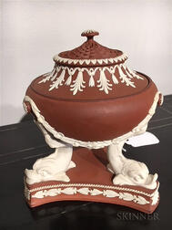 Wedgwood Rosso Antico and White Terra-cotta Incense Burner and Cover