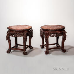 Pair of Marble-top Stools
