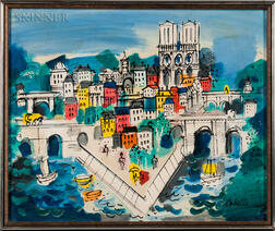 Charles Cobelle (French, 1902-1994)    View of Paris: Île de la Cité and Notre Dame