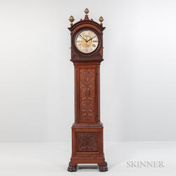 "Bigelow Kennard & Co. Carved Mahogany Quarter-chiming ""Hall"" Clock"