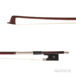 French Silver-mounted Violin Bow, Morizot Frères