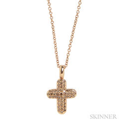 18kt Rose Gold and Colored Diamond Cross Pendant Necklace