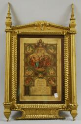 Gold-painted Tramp Art Notch-carved Wooden Framed 1909 Polish/American Catholic Print.