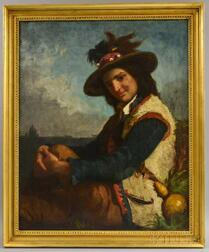 Attributed to Edward Harrison May (British, 1824-1887)      Young Italian Peasant in a Plumed Hat