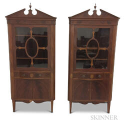 Pair of Federal-style Baltimore-type Inlaid and Glazed Mahogany Corner Cupboards
