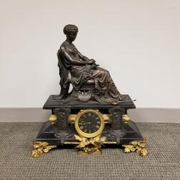 French-style Gilt Metal and Slate Figural Mantel Clock