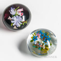 Two Melissa Ayotte Floral Paperweights