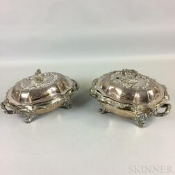 Pair of Matthew Boulton Sheffield Silver-plate Covered Serving Dishes