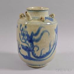 Large Blue and White Porcelain Water Pot