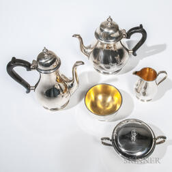 "Five-piece Tiffany & Co. Sterling Silver ""Queen Anne"" Pattern Tea and Coffee Service"