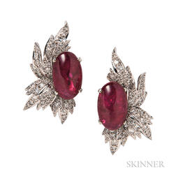 14kt White Gold, Pink Tourmaline, and Diamond Earclips