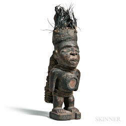 Yombe-style Carved Wood Nkisi Power Figure