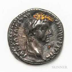 "Roman Empire, Tiberius AR Denarius, ""Tribute Penny"" Type.     Estimate $200-300"