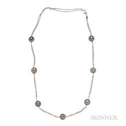 18kt White Gold and Tahitian Pearl Necklace