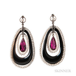 Onyx and Pink Tourmaline Earclips