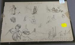 Thomas Nast (1840-1902) Ink and Pencil on Paper Sketch Sheet