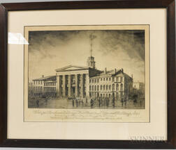 Framed Sidney Smith Etching View of the Merchants Exchange, State Street and Adjacent Buildings, 1842