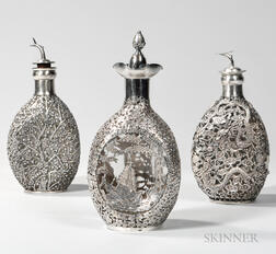 Three Chinese Export Silver-mounted Pinch Bottles