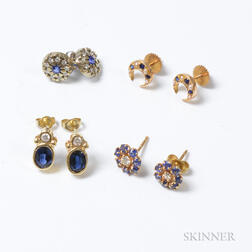 Four Pairs of Sapphire Earrings