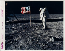 Apollo 11, Buzz Aldrin with the American Flag.