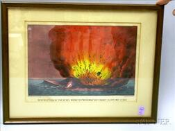 Framed Currier & Ives Small Folio Hand-colored Civil War Lithograph