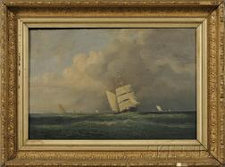 Franklin Stanwood (Maine, 1852-1888)      Sailing in Casco Bay on a Cloudy Day.