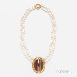 Double-strand Cultured Pearl Necklace with a 14kt Gold and Agate Medallion