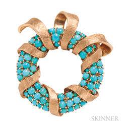14kt Gold and Turquoise Brooch