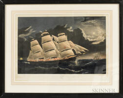 Nathaniel Currier Hand-colored Lithograph Clipper Ship Dreadnought Off Tuskar Light