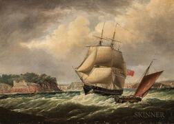 Thomas Lyde Hornbrook (British, c. 1808-1855)      Royal Navy Vessel in Plymouth Sound