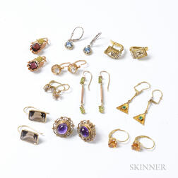 Ten Pairs of Gem-set Earrings