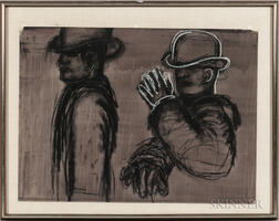Lester Frederick Johnson (American, 1919-2010)      Two Men with Hats