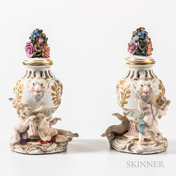 Pair of Meissen Porcelain Figural Potpourri Vases and Covers