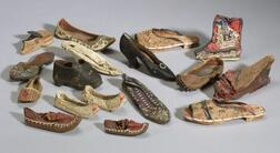Interesting Collection of Seventeen Antique Shoes