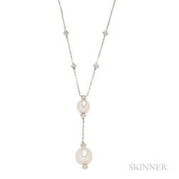 18kt White Gold, South Sea Pearl, and Diamond Necklace