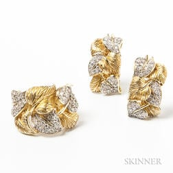 14kt Gold and Diamond Leaf-form Ring and Earring Set