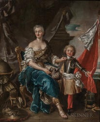 After Jean Marc Nattier (French, 1685-1766), Mademoiselle de Lambesc as Minerva, Arming her Brother the Comte de Brionne/A 19th Century