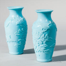 Pair of Robin's Egg Blue Peking Glass Vases