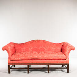 Chippendale-style Upholstered Camel-back Sofa