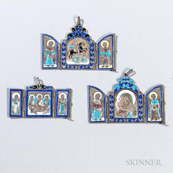 Three Russian .875 Silver and Enamel Pendant Icons