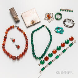 Group of Costume and Hardstone Jewelry and Accessories