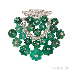 Platinum, Emerald, and Diamond Clip Brooch