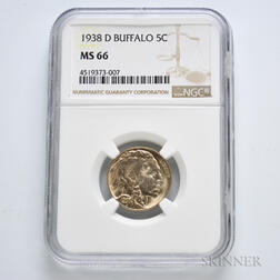 1938-D Buffalo Nickel, NGC MS66.     Estimate $40-60